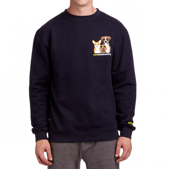 Enjoi Gone To The Dogs Crew Sweatshirt - Classic Navy