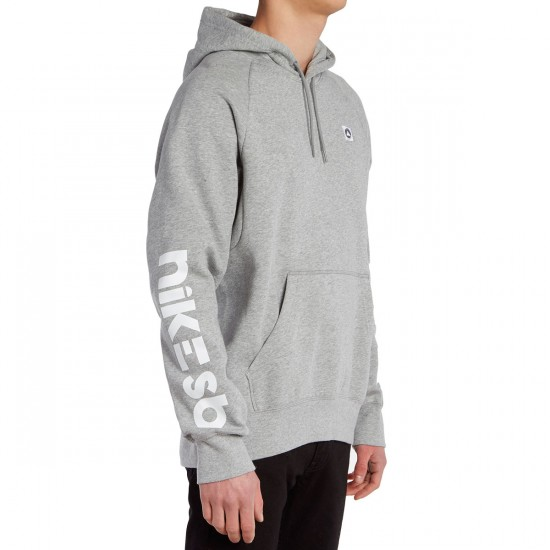 Nike SB Icon Geo Hoodie - Dark Grey Heather/White