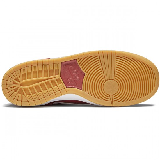 Nike SB Dunk Low Pro Shoes - Track Red/White Cedar/Brown Gum - 8.0