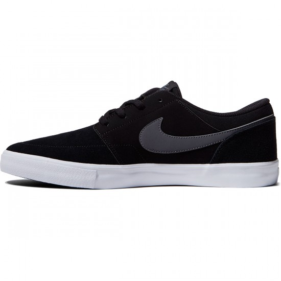 Nike SB Solarsoft Portmore II Shoes - Black/Dark Grey/White - 10.0