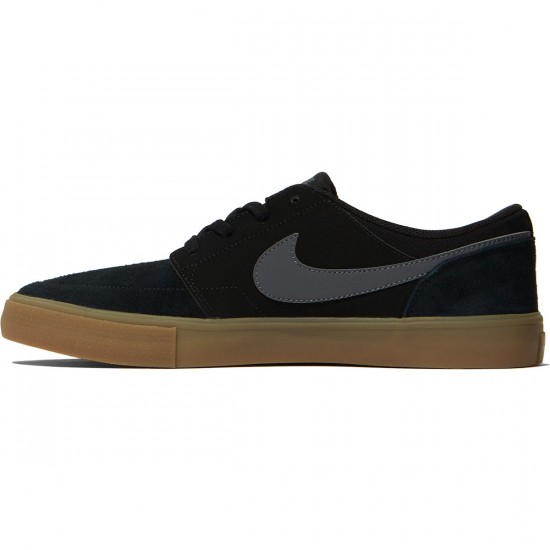 Nike SB Solarsoft Portmore II Shoes - Black/Dark Grey Gum/Light Brown - 7.0
