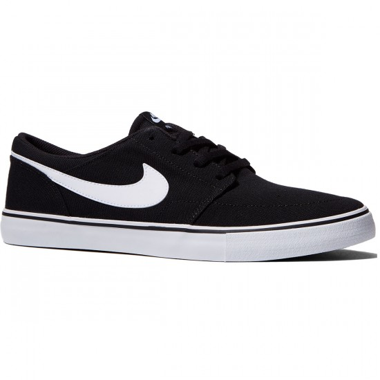 Nike SB Solarsoft Portmore II Canvas Shoes - Black/White - 7.0