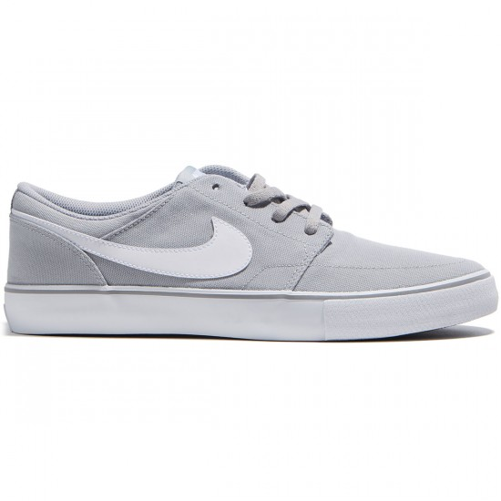 Nike SB Solarsoft Portmore II Canvas Shoes - Wolf Grey/White/Black - 6.0