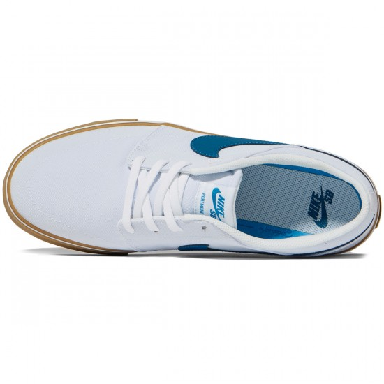 Nike SB Solarsoft Portmore II Canvas Shoes - White/Industrial Blue Gum/Light Brown - 7.0