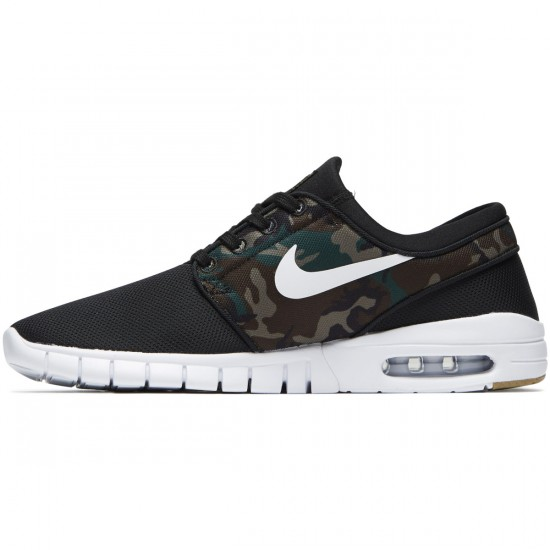Nike Stefan Janoski Max Shoes - Black/White/Medium Olive/Light Brown Gum