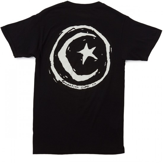 Foundation Superstar and Moon T-Shirt - Black