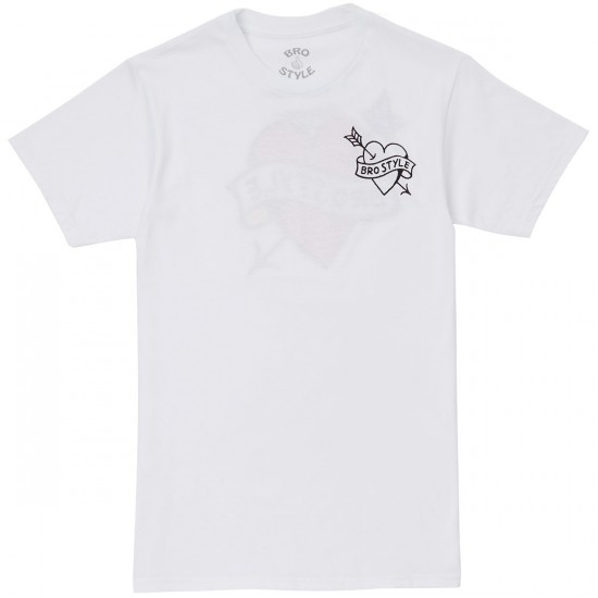 Bro Style Heart Color T-Shirt - White