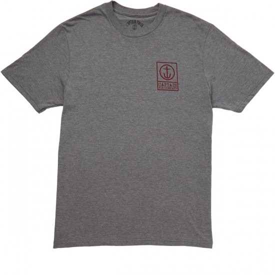 Captain Fin Boxed Out T-shirt - Heather Grey/Red