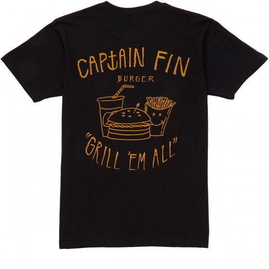 Captain Fin Grill Em All T-shirt - Vintage Black