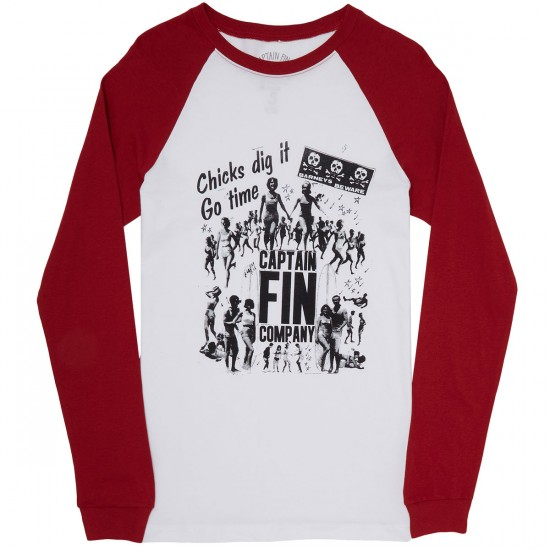 Captain Fin Chicks Dig It Long Sleeve T-Shirt - White/Red
