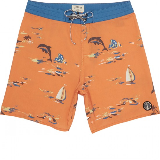 Captain Fin Leaping Dolphins Boardshorts - Orange