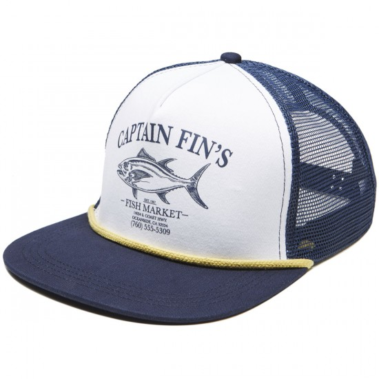 Captain Fin Fish Market Trucker Hat - White/Navy