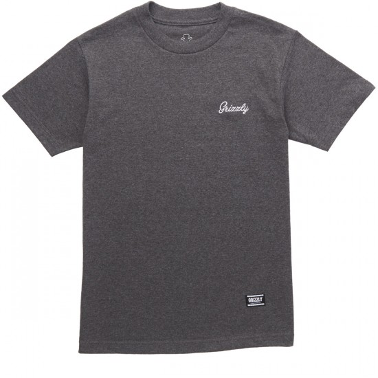 Grizzly Cursive Embroidery T-Shirt - Charcoal