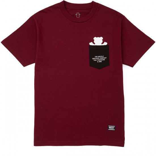 Grizzly Credits Pocket T-Shirt - Burgundy