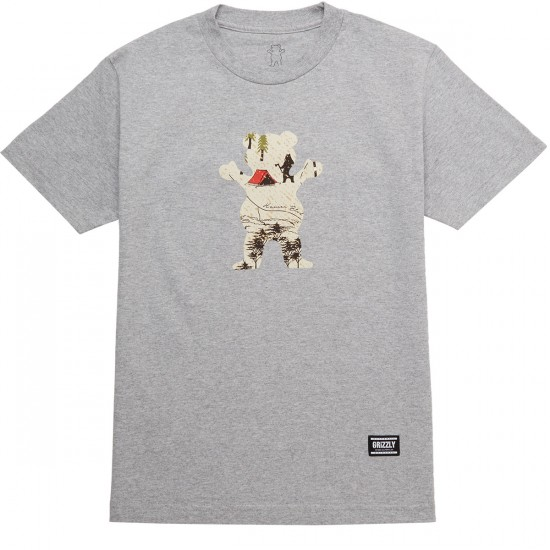 Grizzly Trail Map OG Bear T-Shirt - Heather Grey