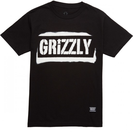 Grizzly Stencil Stamp T-Shirt - Black