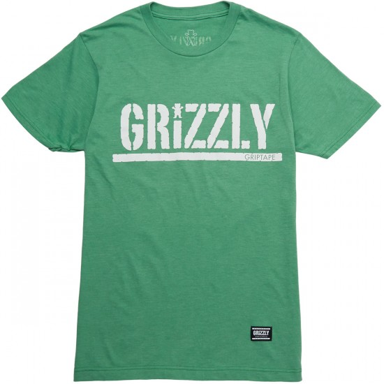 Grizzly OG Stamp Logo T-Shirt - Kelly Heather