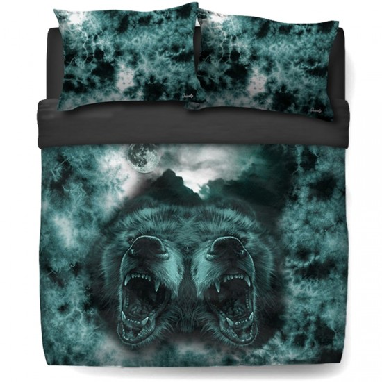 Grizzly Roar At The Moon Queen Bed Set - Black