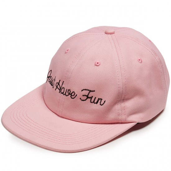 Just Have Fun Single Stitch Strapback Hat - Pink