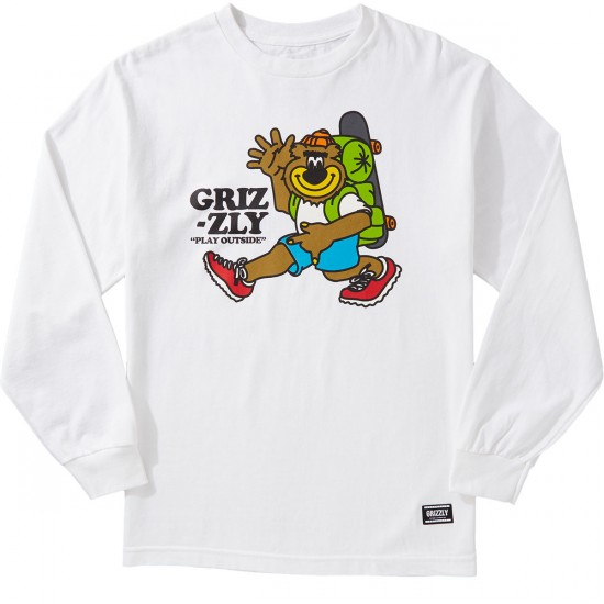 Grizzly mile high longsleeve t shirt white for Miles t shirt shop