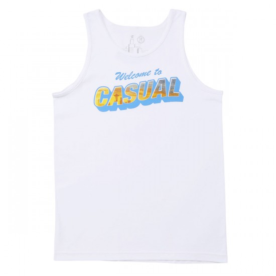 Casual Industrees Welcome To Casual Tank Top - White