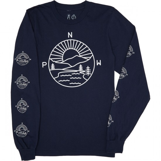 Casual Industrees PNW Explorer Longsleeve T-Shirt - Navy Blue