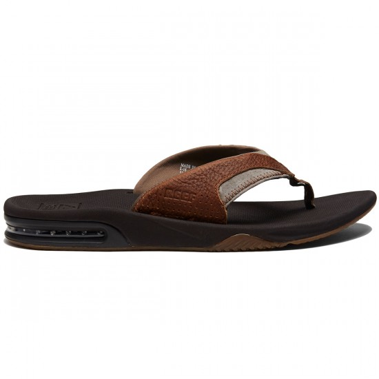 Reef Leather Fanning Sandals - Brown/Brown - 8.0