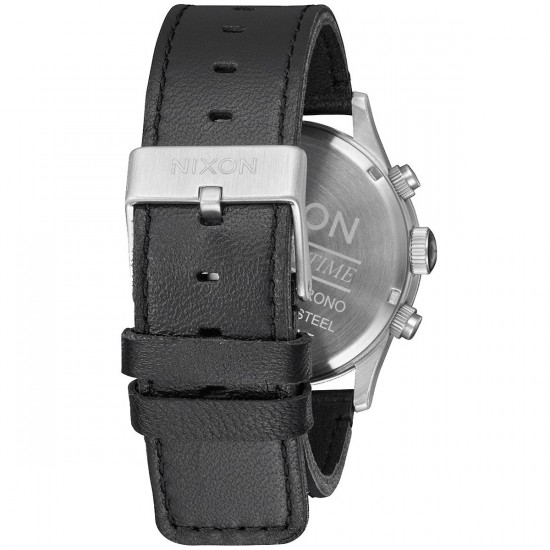 Nixon Sentry Chrono Leather Watch - Black