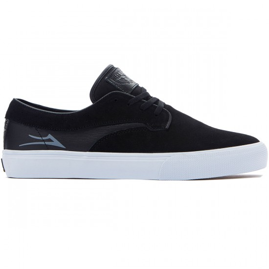 Lakai Riley Hawk Shoes - Black/White Suede - 8.0