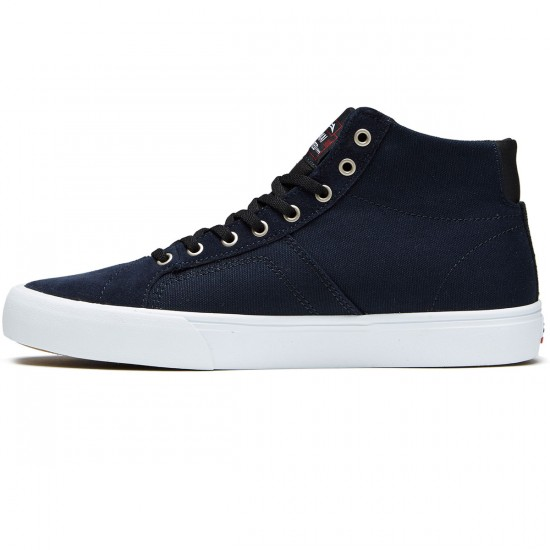 Lakai Flaco High Shoes - Navy/White Suede - 8.0