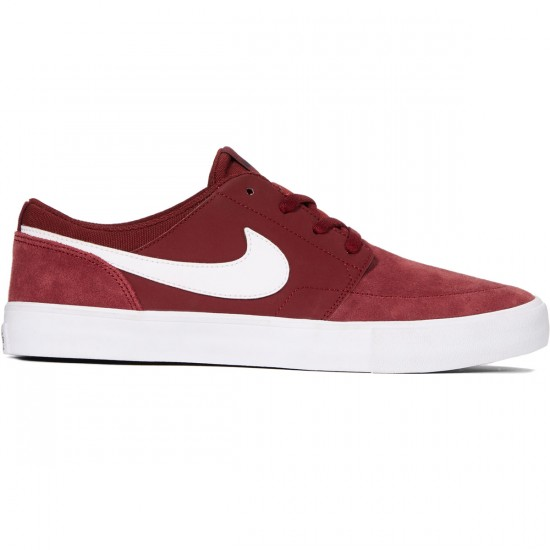 Nike SB Solarsoft Portmore II Shoes - Dark Team Red/White/Black - 8.0