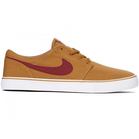 Nike SB Solarsoft Portmore II Shoes - Golden Beige/Team Red/White - 7.5