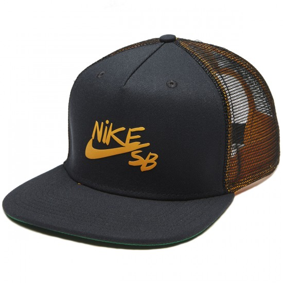 Nike SB Reveal Trucker Hat - Black/Circuit Orange