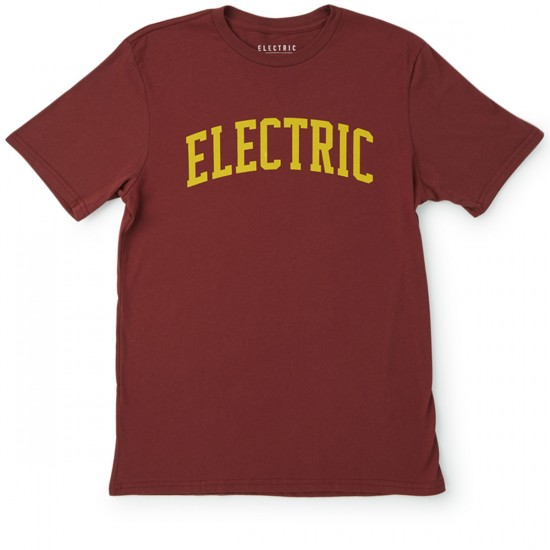 Electric College T-Shirt - Burgundy