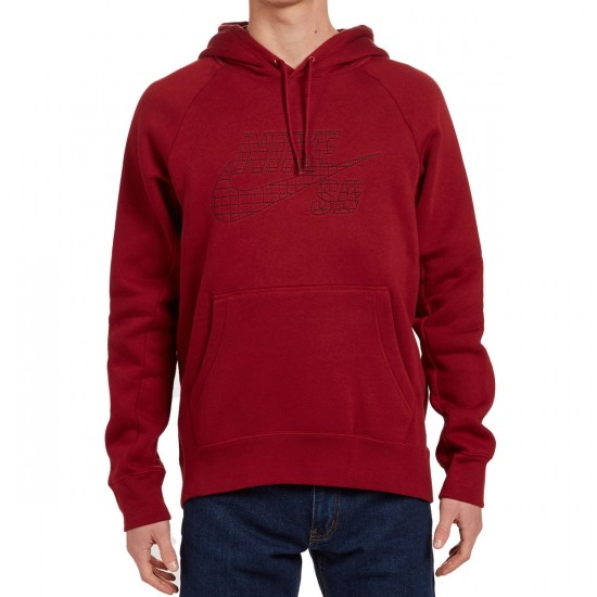 Nike SB Icon Grid Fill Pullover Hoodie - Red/Black