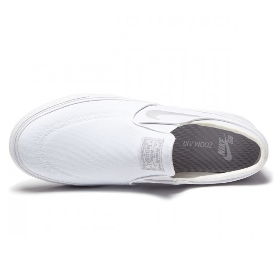 Nike Zoom Stefan Janoski Slip-On Shoes - White/White/Grey - 7.0