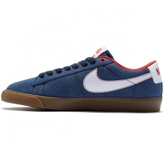 Nike Blazer Low GT Shoes - Obsidian/Red/Gum/Brown/White - 7.5