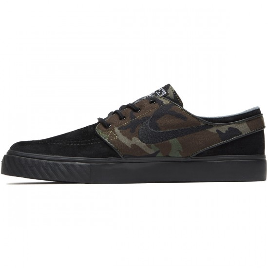 Nike Zoom Stefan Janoski Shoes - Black/Medium Olive/White - 6.0