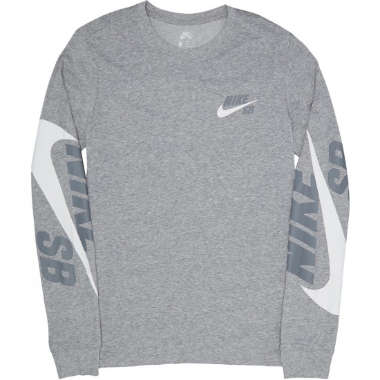 Nike SB Tonal Long Sleeve T-Shirt - Dark Grey Heather/Cool Grey/White