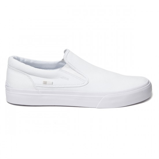 DC Trase Slip-On Shoes - White/White - 8.5