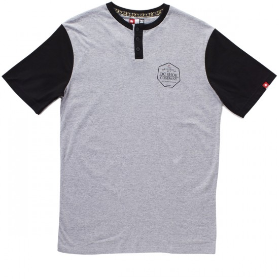 DC 7 Strikes Henley T-Shirt - Heather Grey