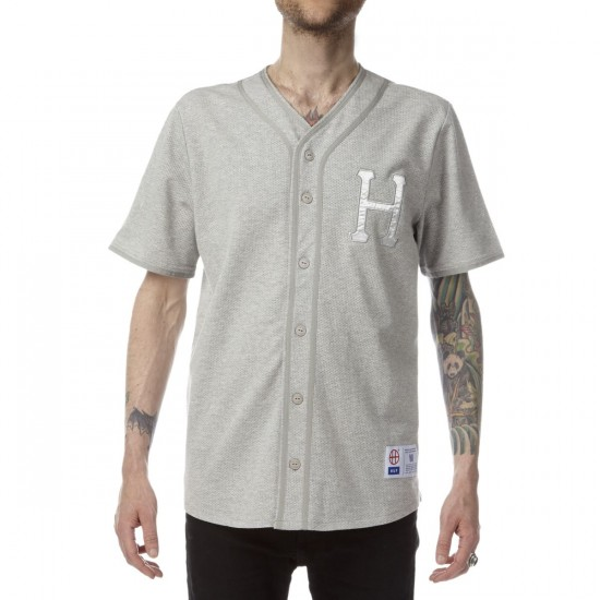 HUF Pursuit Baseball Jersey - Grey Heather