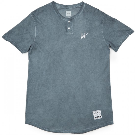HUF Script Enzyme Wash Henley T-Shirt - Grey