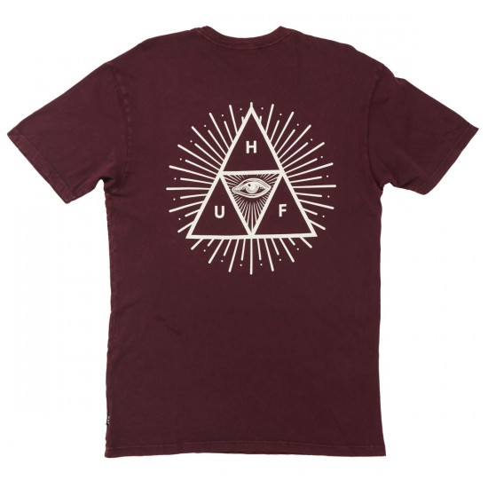 HUF Mineral Wash Third Eye Triple Triangle T-Shirt - Wine