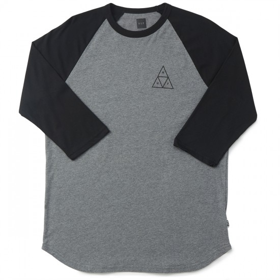 HUF Triple Triagle Raglan T-Shirt - Grey Heather/Black