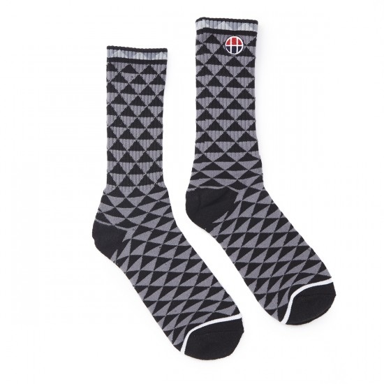 HUF Checkered Triangle Crew Socks - Black