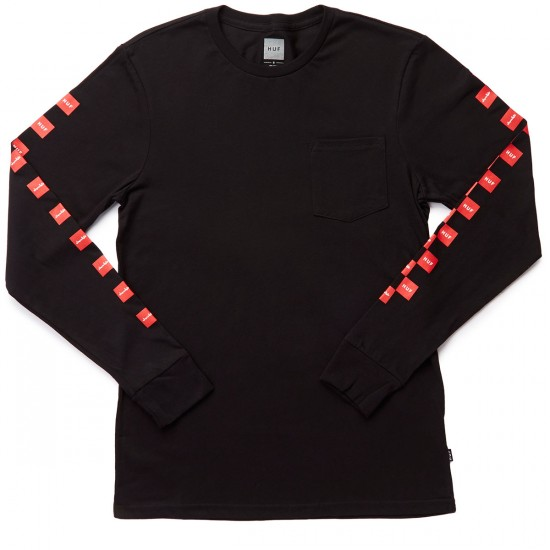 HUF X Chocolate Checkered Long Sleeve Pocket T-Shirt - Black