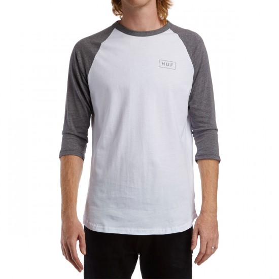 HUF Reflective Bar Logo Raglan T-Shirt - White/Grey Heather
