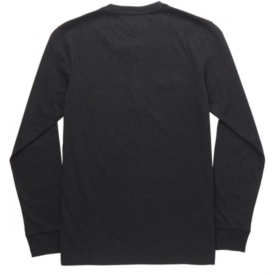 Huf Thompson Long Sleeve Henley T-Shirt - Black Heather