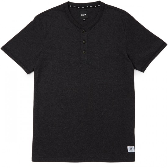 Huf Thompson Henley T-shirt - Black Heather